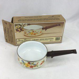 Vintage JMP Sweet Flowers Porcelain Enamel Pan